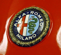 The badge on the front of an Alfa in the Indianapolis Motor Speedway Hall of Fame Museum