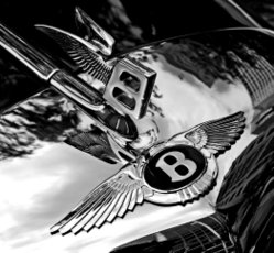 "Bentley's winged ""B"" badge and hood ornament"