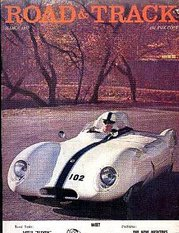 Cover of Road & Track magazine, showing Lotus Eleven Mk XI