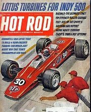 Hot Rod magazine cover showing Lotus Turbine Indy car