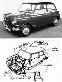 Prototype Mini and one of Issigonis's original concept sketches