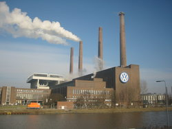 The Volkswagen main factory in Wolfsburg with its own power plant in the front.